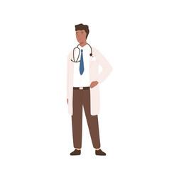 Friendly cartoon black male doctor in white coat vector