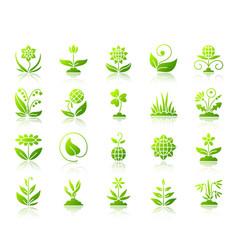 garden simple green gradient icons set vector image