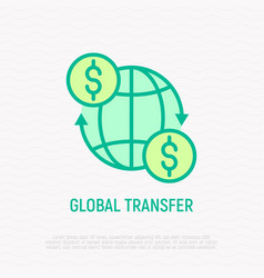 Global transfer money moving around globe vector