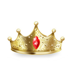 golden crown 3d realistic gold queen sign luxury vector image