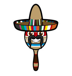 Happy maraca with hat vector