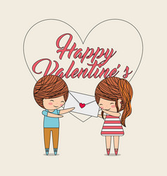 happy valentines cute couple holding message heart vector image