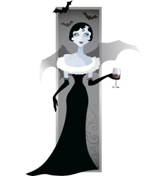 image of a girl vampire with a glass vector image