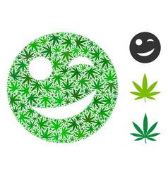 Joy smiley collage of hemp leaves vector