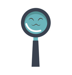 kawaii magnifier search glass cartoon vector image