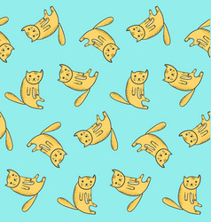 kids pattern with cute sitting outline orange cats vector image