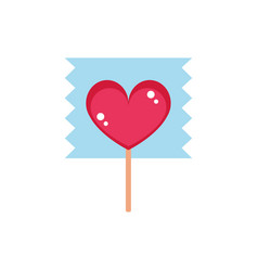 Lollipop shaped heart wrapped sweet confectionery vector