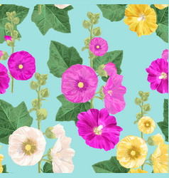 malva flower seamless pattern floral background vector image