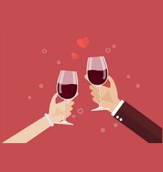 Man and woman toasting a wine glasses vector
