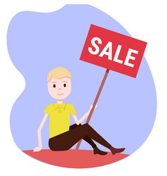 man holding sale board special offer discount vector image