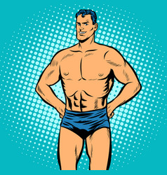 man swimmer in swimming trunks vector image