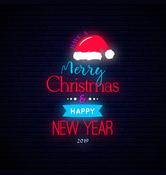 merry christmas and happy new year banner neon vector image