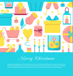 merry christmas celebration concept banner in flat vector image