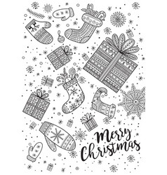 Merry christmas coloring page in boho style vector