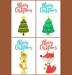 merry christmas trees and fox vector image