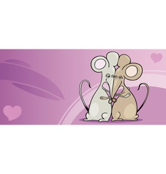mice in love valentine card cartoon vector image