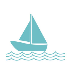 Monochrome silhouette with sailing boat on the vector