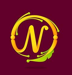 N letter monogram design elements vector