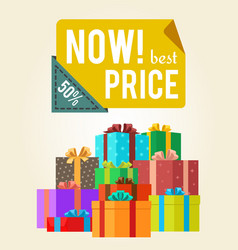 Now best price push buttons promo label on banner vector