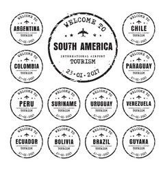 old stamps with the name of the south american vector image