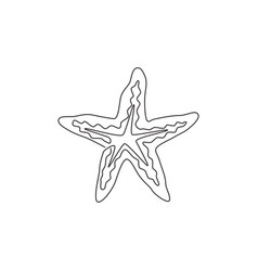 one single line drawing beauty sea star vector image