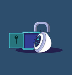 Padlock with eye privacy data vector