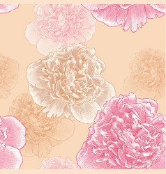 Pattern of the peonies vector