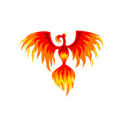 Phoenix flaming mythical firebird vector