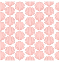 Pink shell cute seamless pattern vector