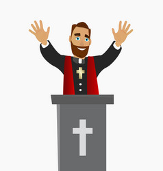 Priest blessing peoples in a church in worship vector