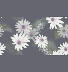 Seamless pattern white chrysanthemum flowers vector