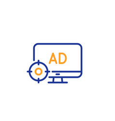 Seo adblock line icon search engine optimization vector