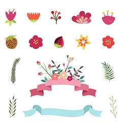 Set of Happy easter and spring design elements vector image