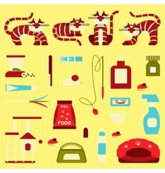 Set of sign cat accessories vector image