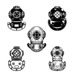 set of vintage diver helmets design element for vector image
