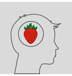Silhouette head with tasty strawberry icon graphic vector
