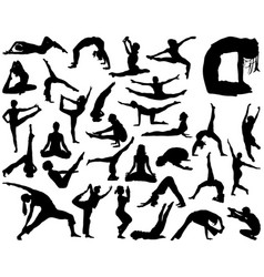 Silhouettes of yoga vector