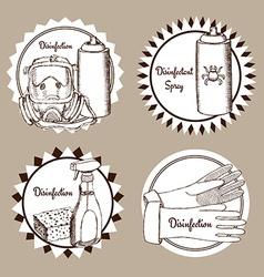Sketch set disinfection logo vector