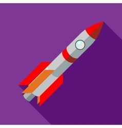 Space shuttle rocket launch icon flat style vector image