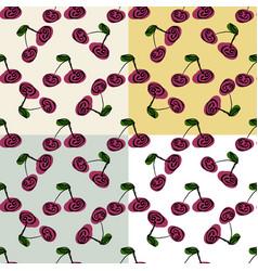 stylized bright fruits on monochromatic background vector image