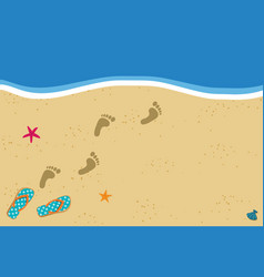 Summer border with copy space flip flops and foot vector