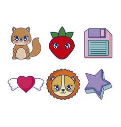 Sweet and adorables kawaii set characters vector