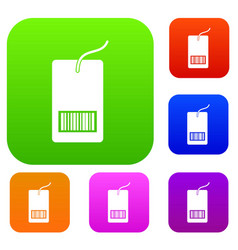 Tag with bar code set collection vector