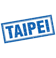 Taipei blue square grunge stamp on white vector