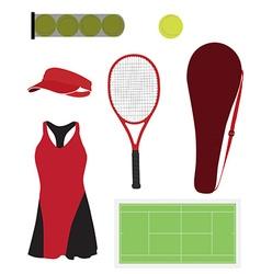 Tennis equipment set vector image vector image
