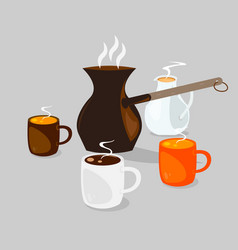 Three coffee cups with hot coffee with cream vector