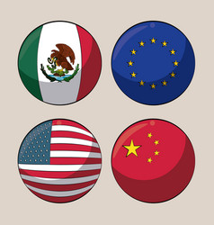 Trade country flags vector