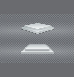 white podium set 3d square two-stage pedestals vector image