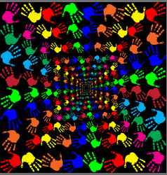 With multicolored handprints pattern on black vector
