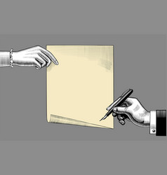 womans hand holding a paper sheet and mans hand vector image
